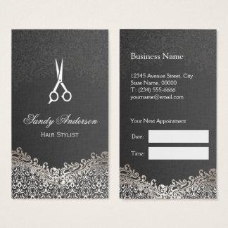 Elegant Silver Damask - Hair Stylist Appointment