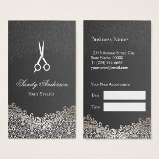 Elegant Silver Damask - Hair Stylist Appointment Business Card