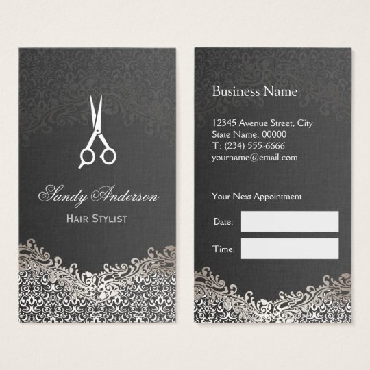 Elegant Silver Damask - Hair Stylist Appointment Business