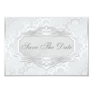 Elegant Silver Damask Wedding Save The Date Card