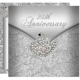 Elegant Silver Damask White Swan 25th Anniversary Card