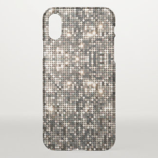 Elegant Silver Disco Glitter &  Background iPhone X Case