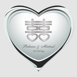 Elegant Silver Double Happiness Heart Heart Sticker