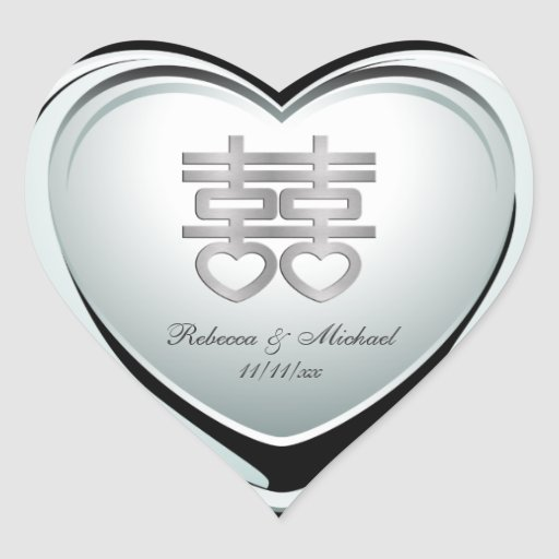 Elegant Silver Double Happiness Heart Heart Sticker