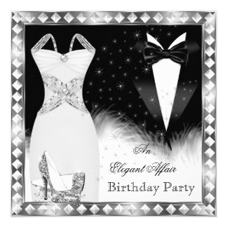 Elegant Silver Dress Black Tie Birthday Party 13 Cm X 13 Cm Square Invitation Card