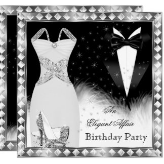 Elegant Silver Dress Black Tie Birthday Party Card