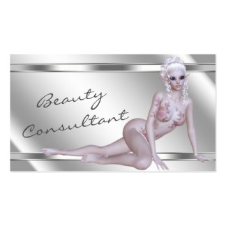 Elegant Silver Fantasy Faerie Beauty Consultant Business Card Template
