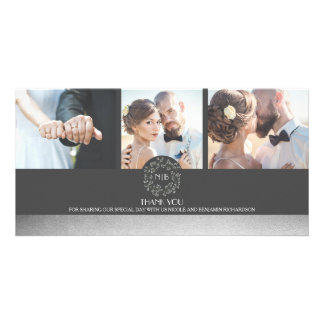 Elegant Silver Floral Photo Wedding Thank You Photo Card