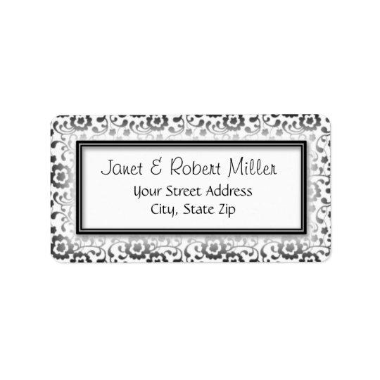 Elegant Silver Floral Swirls Pattern Frame Address Label