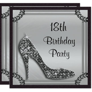 Elegant Silver Framed Black Stiletto 18th Birthday Card