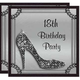 Elegant Silver Framed Black Stiletto 18th Birthday Card