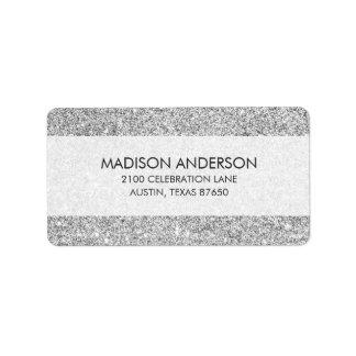 Elegant Silver Glitter Address Label