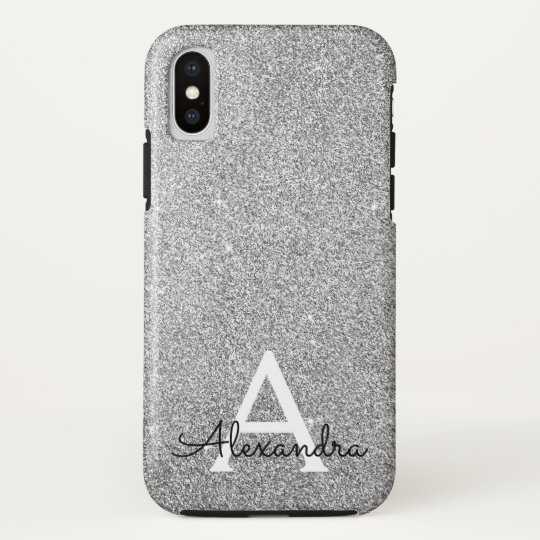 Elegant Silver Glitter and Sparkle Monogram iPhone X Case