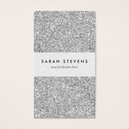 Elegant Silver Glitter Business Card
