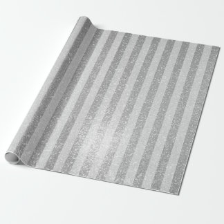 Elegant silver glitter chic stripes wrappingpaper wrapping paper