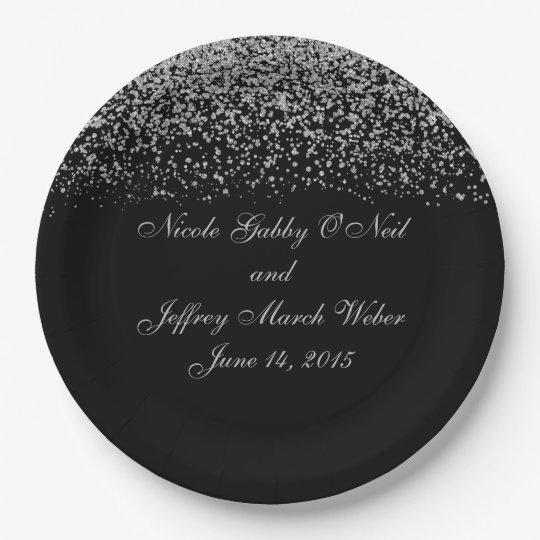 Elegant Silver Glitter Confetti Wedding Paper Plate