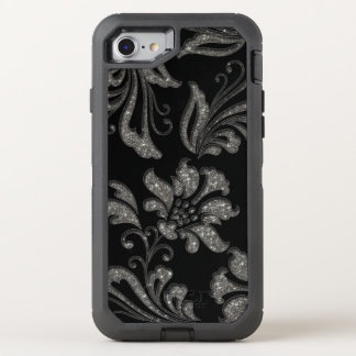 Elegant Silver Glitter Floral OtterBox Defender iPhone 8/7 Case