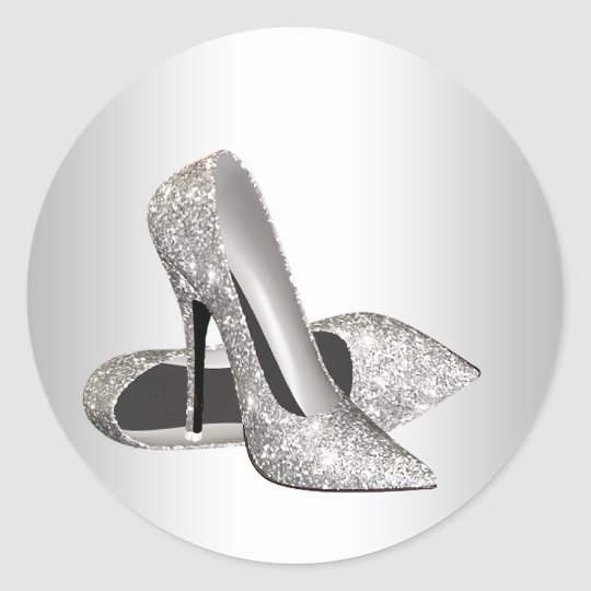 Elegant Silver Glitter High Heel Shoe Stickers
