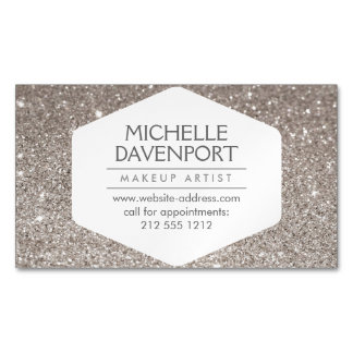 Elegant Silver Glitter Magnetic Business Card Magnetic Business Cards