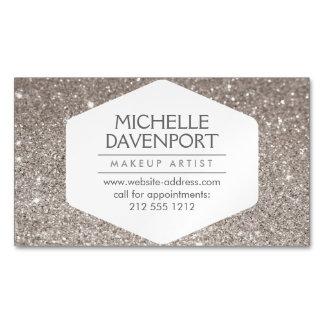 Elegant Silver Glitter Magnetic Business Card Magnetic Business Cards