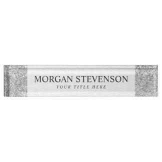 Elegant Silver Glitter Nameplates