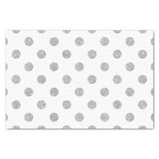 Elegant Silver Glitter Polka Dots Pattern Tissue Paper