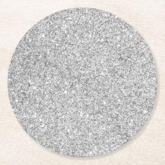 Elegant Silver Glitter Round Paper Coaster