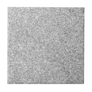 Elegant Silver Glitter Small Square Tile