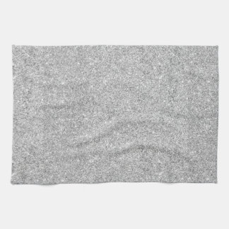 Elegant Silver Glitter Tea Towel