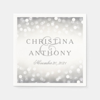 Elegant Silver Glitter Wedding Personalized Napkin Disposable Napkins