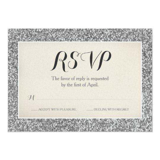 Elegant Silver Glitter Wedding RSVP Card