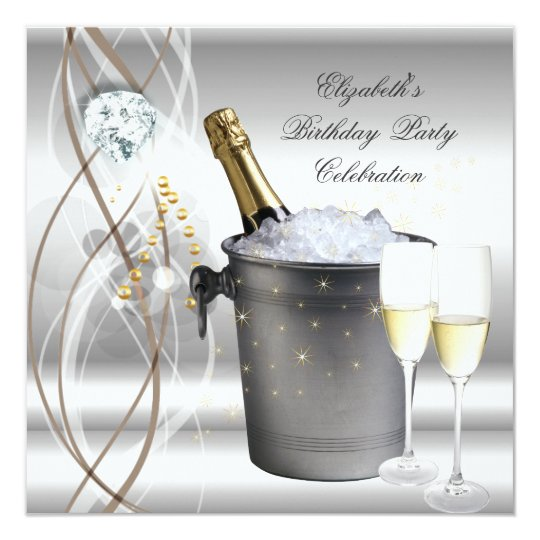 Elegant Silver Gold Champagne Birthday Party Card