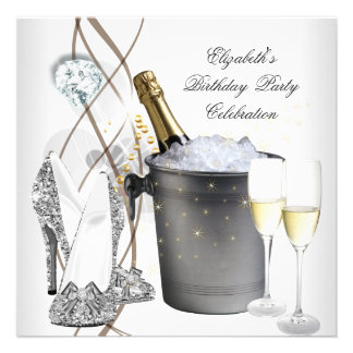 Elegant Silver Gold Champagne High Heels Party Announcements