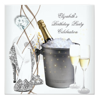 "Elegant Silver Gold Champagne High Heels Party 5.25"" Square Invitation Card"