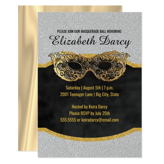 Elegant Silver Gold Glitter Masquerade Party Fancy Card