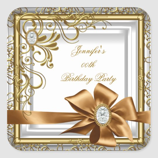 Elegant Silver Gold Jewel image Birthday Party Square