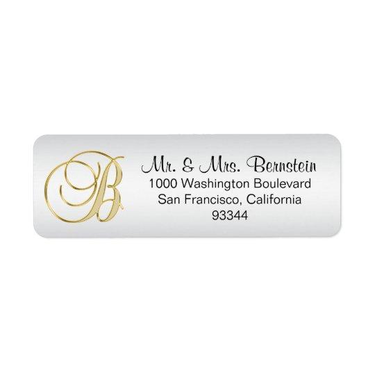 Elegant Silver Gold Monogram Letter 'B' Return Return Address Label