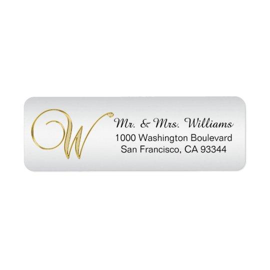 Elegant Silver Gold Monogram Letter 'W' Return