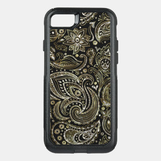 Elegant Silver & Gold Vintage Paisley Pattern OtterBox Commuter iPhone 8/7 Case