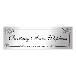 Elegant Silver Graduation Name Card Insert Pack Of Skinny Business Cards