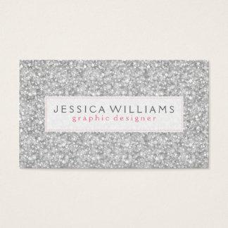 Elegant Silver Gray Faux Glitter Print Business Card