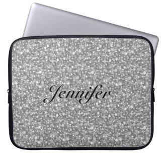 Elegant Silver Gray Glitter Sparkles 2-Monogram Computer Sleeves
