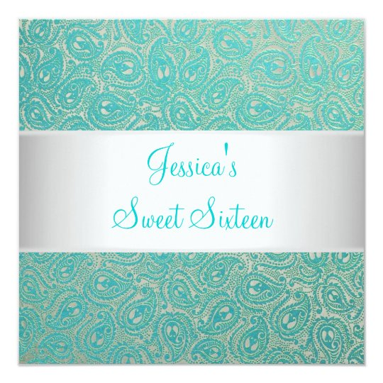 Elegant Silver Green Paisley Party Invitation