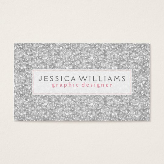 Elegant Silver Grey Faux Glitter Print Business Card