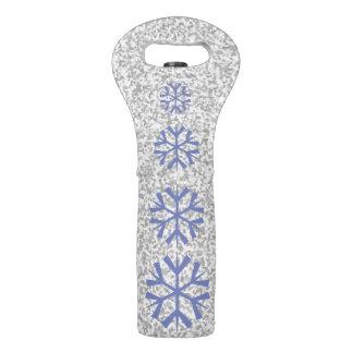 Elegant Silver Grey Glitter Snowflake Wine Bag