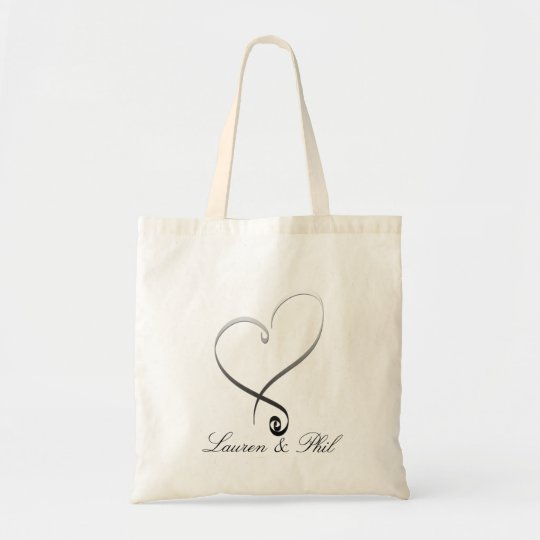 Elegant silver heart DIY Template Tote Bag
