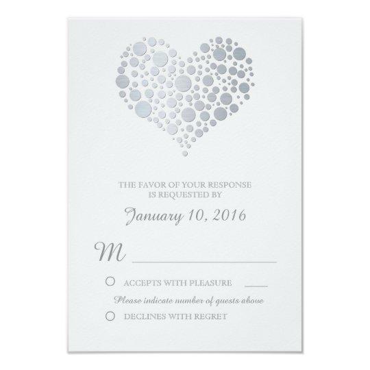 Elegant Silver Heart Light Grey Wedding RSVP Card