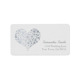 Elegant Silver Heart on Gray Address Label