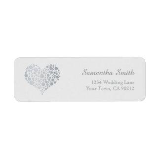 Elegant Silver Heart on Light Gray Return Address Label