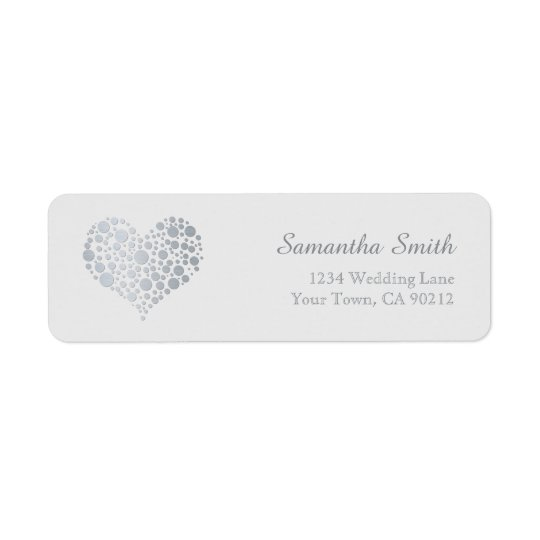 Elegant Silver Heart on Light Grey Return Address Label